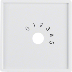 "13016089 Centre plate with imprint ""0 - 1 - 2 - 3 - 4 - 5"" for small sound system Berker Q.1/Q.3, polar white velvety"