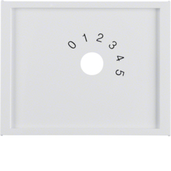 "13017109 Centre plate with imprint ""0 - 1 - 2 - 3 - 4 - 5"" for small sound system Berker K.1, polar white glossy"