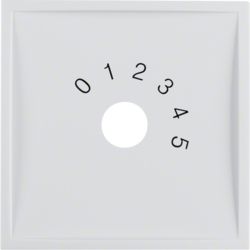 "13018989 Centre plate with imprint ""0 - 1 - 2 - 3 - 4 - 5"" for small sound system polar white glossy"