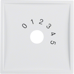 "13019909 Centre plate with imprint ""0 - 1 - 2 - 3 - 4 - 5"" for small sound system Berker S.1/B.3/B.7, polar white matt"