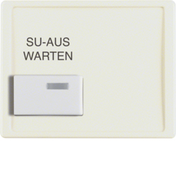13080002 Centre plate with white button and imprint Berker Arsys,  white glossy