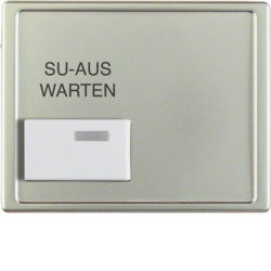 13089004 Centre plate with white button and imprint Berker Arsys,  stainless steel matt,  lacquered