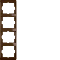 13430001 Frame 4gang vertical Berker Arsys,  brown glossy