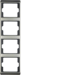 13440004 Frame 4gang vertical Berker Arsys,  stainless steel,  metal matt finish