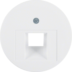 14072089 Centre plate for FCC socket outlet Berker R.1/R.3/R.classic,  polar white glossy