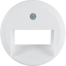 1409 Centre plate for FCC socket outlet 2gang polar white glossy