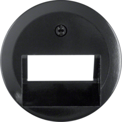 140901 Centre plate for FCC socket outlet 2gang Serie 1930/Glas,  black glossy