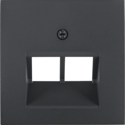 14091606 Centre plate for FCC socket outlet 2gang Berker S.1/B.3/B.7, anthracite,  matt