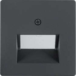 14096086 Centre plate for FCC socket outlet 2gang Berker Q.1/Q.3/Q.7/Q.9, anthracite velvety,  lacquered