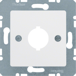 143109 Central plate with installation opening Ø 18.8 mm Communication technology,  polar white glossy