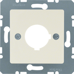 143202 Central plate with installation opening Ø 22.5 mm Communication technology,  white glossy