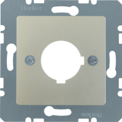 143204 Central plate with installation opening Ø 22.5 mm Communication technology,  stainless steel matt,  lacquered