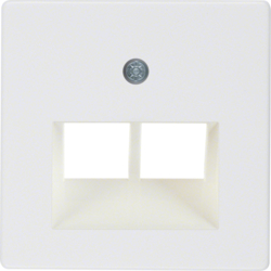 146909 Central plate for FCC socket outlet 2gang Communication technology,  polar white glossy