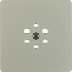 147404 Central plate for 6pole socket outlet Accessories,  stainless steel matt,  lacquered
