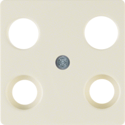 148302 Central plate for aerial socket 4hole (Hirschmann) white glossy