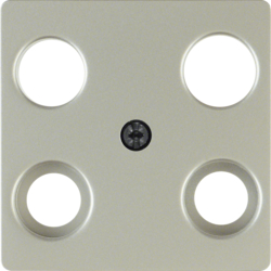 148304 Central plate for aerial socket 4hole (Hirschmann) stainless steel matt,  lacquered