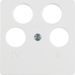148409 Central plate for aerial socket 4hole (Ankaro) polar white glossy
