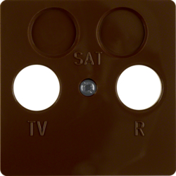 148601 Central plate for aerial socket 2hole Splash-protected flush-mounted IP44, brown glossy