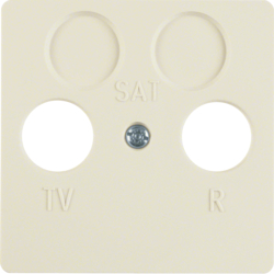 148602 Central plate for aerial socket 2hole Splash-protected flush-mounted IP44, white glossy