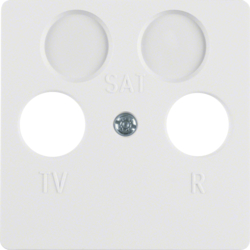 148609 Central plate for aerial socket 2hole Splash-protected flush-mounted IP44, polar white