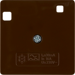 149601 50 x 50 mm centre plate for RCD protection switch System 50 x 50 mm,  brown glossy