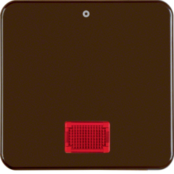 "155801 Rocker with imprint ""0"" with red lens,  Splash-protected flush-mounted IP44, brown glossy"