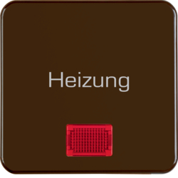 "156801 Rocker with imprint ""Heizung"" with red lens,  Splash-protected flush-mounted IP44, brown glossy"