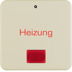 "1569 Rocker with imprint ""Heizung - 0"" red lens,  Splash-protected flush-mounted IP44, white glossy"