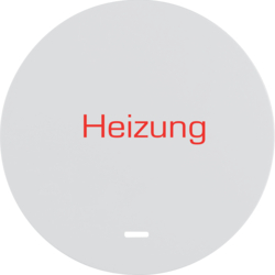 "16212049 Rocker with imprint ""Heizung "" with clear lens,  Berker R.1/R.3/R.8, polar white glossy"