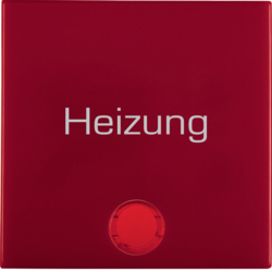 "16218902 Rocker with imprint ""Heizung "" red lens,  Berker S.1/B.3/B.7, red glossy"