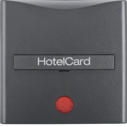 16401606 Centre plate with imprint for push-button for hotel card with red lens,  Berker S.1/B.3/B.7, anthracite,  matt