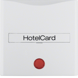 16401909 Centre plate with imprint for push-button for hotel card with red lens,  polar white matt
