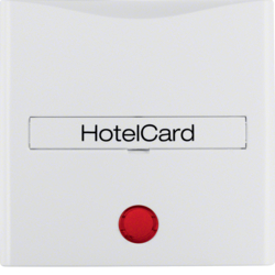 16408989 Centre plate with imprint for push-button for hotel card with red lens,  Berker S.1/B.3/B.7, polar white glossy