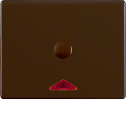 16410001 Centre plate with imprint for push-button for hotel card with red lens,  Berker Arsys,  brown glossy