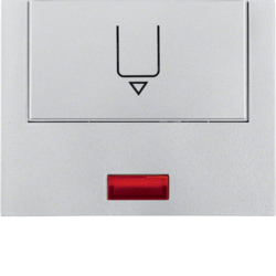 16417103 Centre plate with imprint for push-button for hotel card with red lens,  Berker K.5, aluminium,  matt,  lacquered
