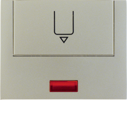 16417104 Centre plate with imprint for push-button for hotel card with red lens,  Berker K.5, stainless steel matt,  lacquered