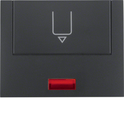 16417106 Centre plate with imprint for push-button for hotel card with red lens,  Berker K.1, anthracite matt,  lacquered