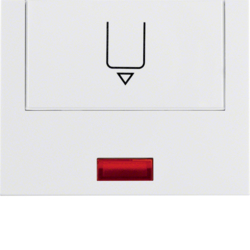 16417109 Centre plate with imprint for push-button for hotel card with red lens,  Berker K.1, polar white glossy
