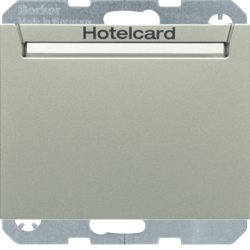16417114 Relay switch with centre plate for hotel card Berker K.5, stainless steel lacquered