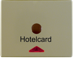 16419011 Centre plate with imprint for push-button for hotel card with red lens,  Berker Arsys,  light bronze matt,  lacquered