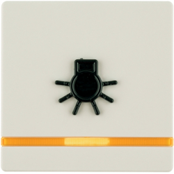 16516042 Rocker for accessible construction with tactile symbol for light,  red lens,  Berker Q.1/Q.3/Q.7/Q.9