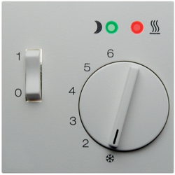 16721909 Centre plate for thermostat for underfloor heating pivoted,  Setting knob,  Berker S.1/B.3/B.7, polar white matt