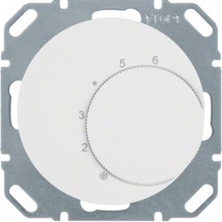 20262089 Thermostat,  change-over contact,  with centre plate Berker R.1/R.3, polar white glossy