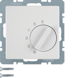 20266089 Thermostat,  change-over contact,  with centre plate Berker Q.1/Q.3, polar white velvety