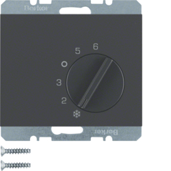 20267106 Thermostat,  change-over contact,  with centre plate Berker K.1, anthracite matt,  lacquered