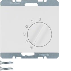 20267109 Thermostat,  change-over contact,  with centre plate Berker K.1, polar white glossy