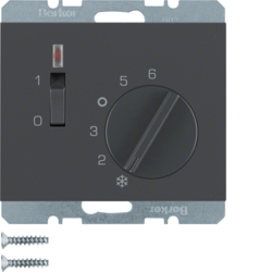 20307106 Temperature controller,  NC contact,  with centre plate with rocker switch,  Berker K.1, anthracite matt,  lacquered