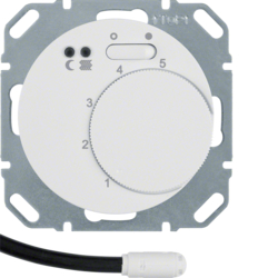 20342089 Thermostat,  NO contact,  with centre plate,  for underfloor heating with rocker switch,  external temperature sensor,  Berker R.1/R.3/R.8, polar white glossy