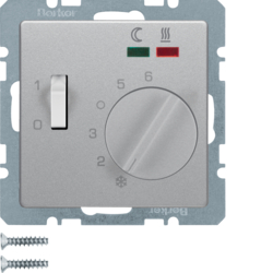20346084 Thermostat,  NO contact,  with centre plate,  for underfloor heating with rocker switch,  external temperature sensor,  Berker Q.1/Q.3