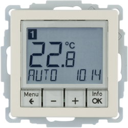 20446082 Thermostat,  NO contact,  with centre plate Time-controlled,  Berker Q.1/Q.3